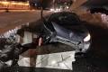 Автомобиль врезался в бетонные блоки на выезде с Центральной площади